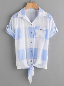Gingham Tie Front Rolled Cuff Shirt