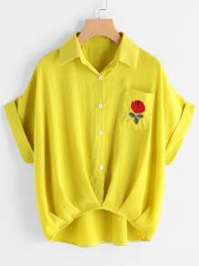 Cuffed Rose Embroidered Dip Hem Shirt With Chest Pocket
