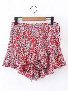 Ditsy Print Ruffle Shorts en lacet