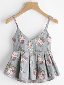 V Neckline Floral Print Box Pleated Cami Top