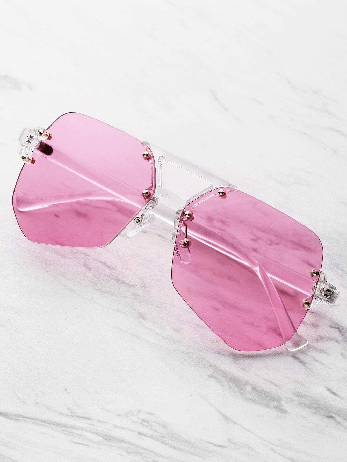 Clear Frame Polygon Sunglasses
