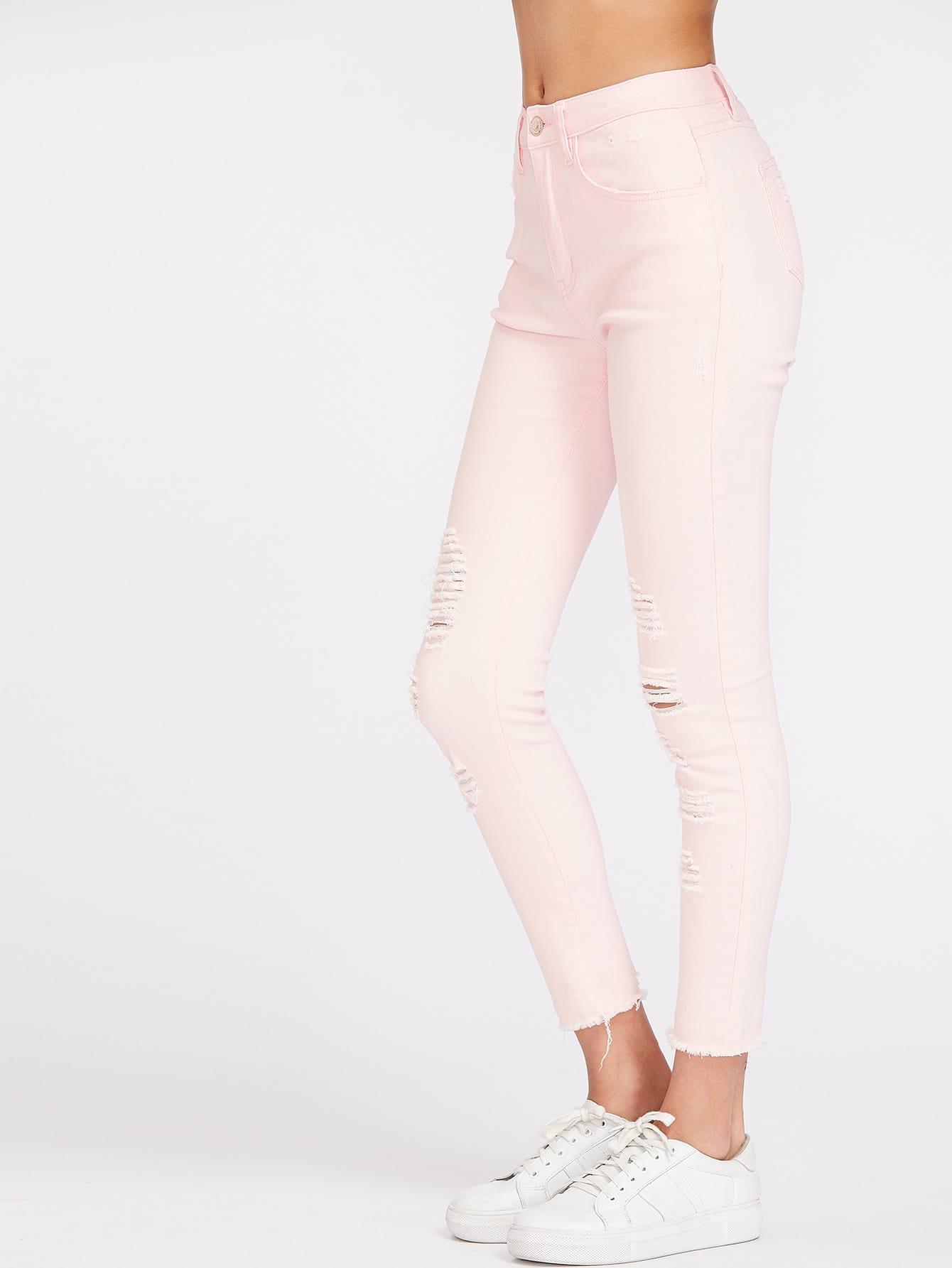 Ripped Frayed Hem Skinny Jeans