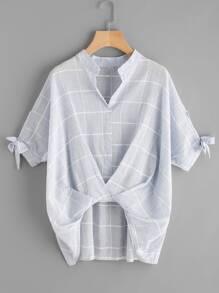 V-Cut Tie Sleeve Twist Front Grid Blouse