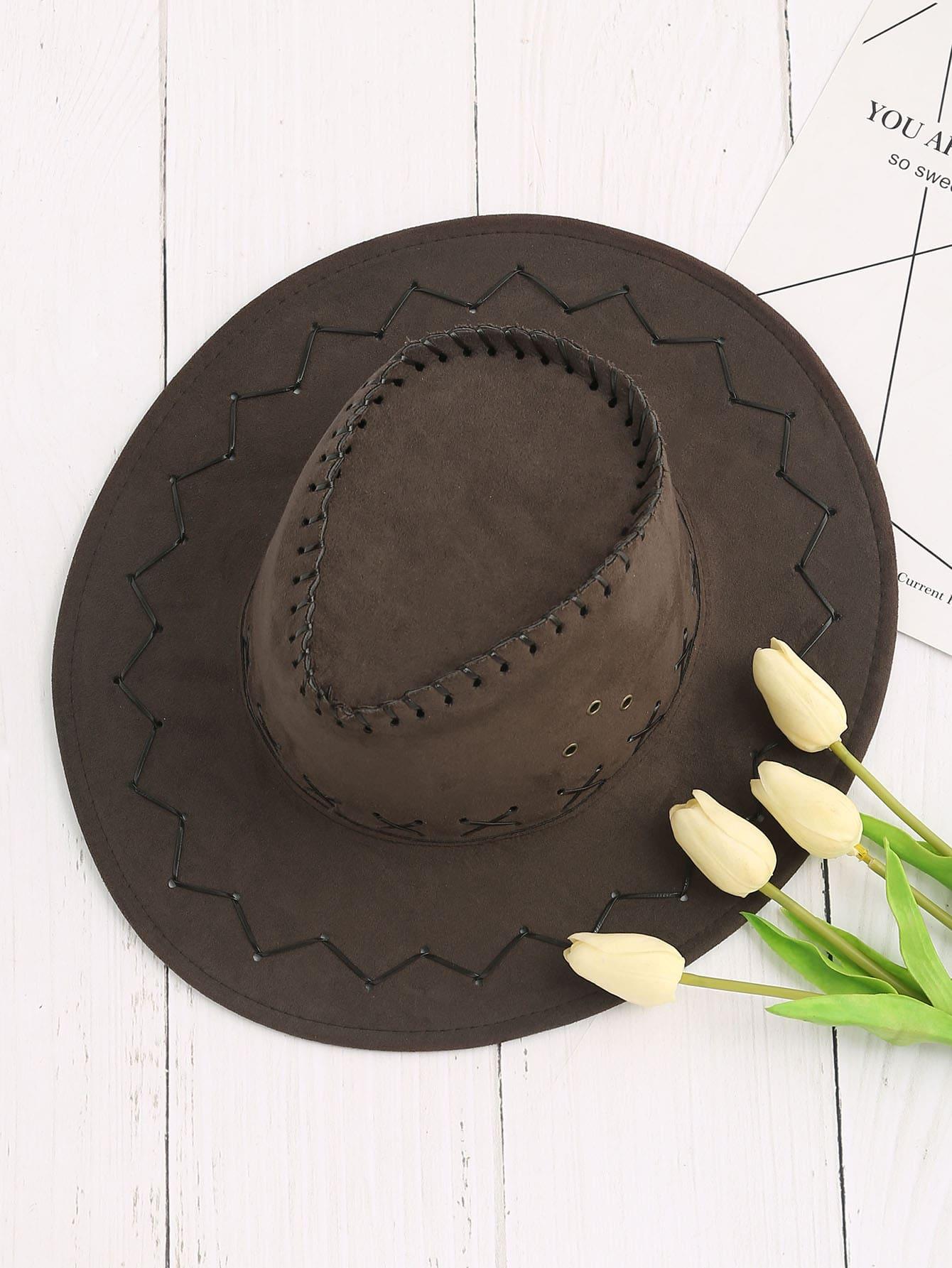 Criss Cross Detail Cowboy Hat hat170421305