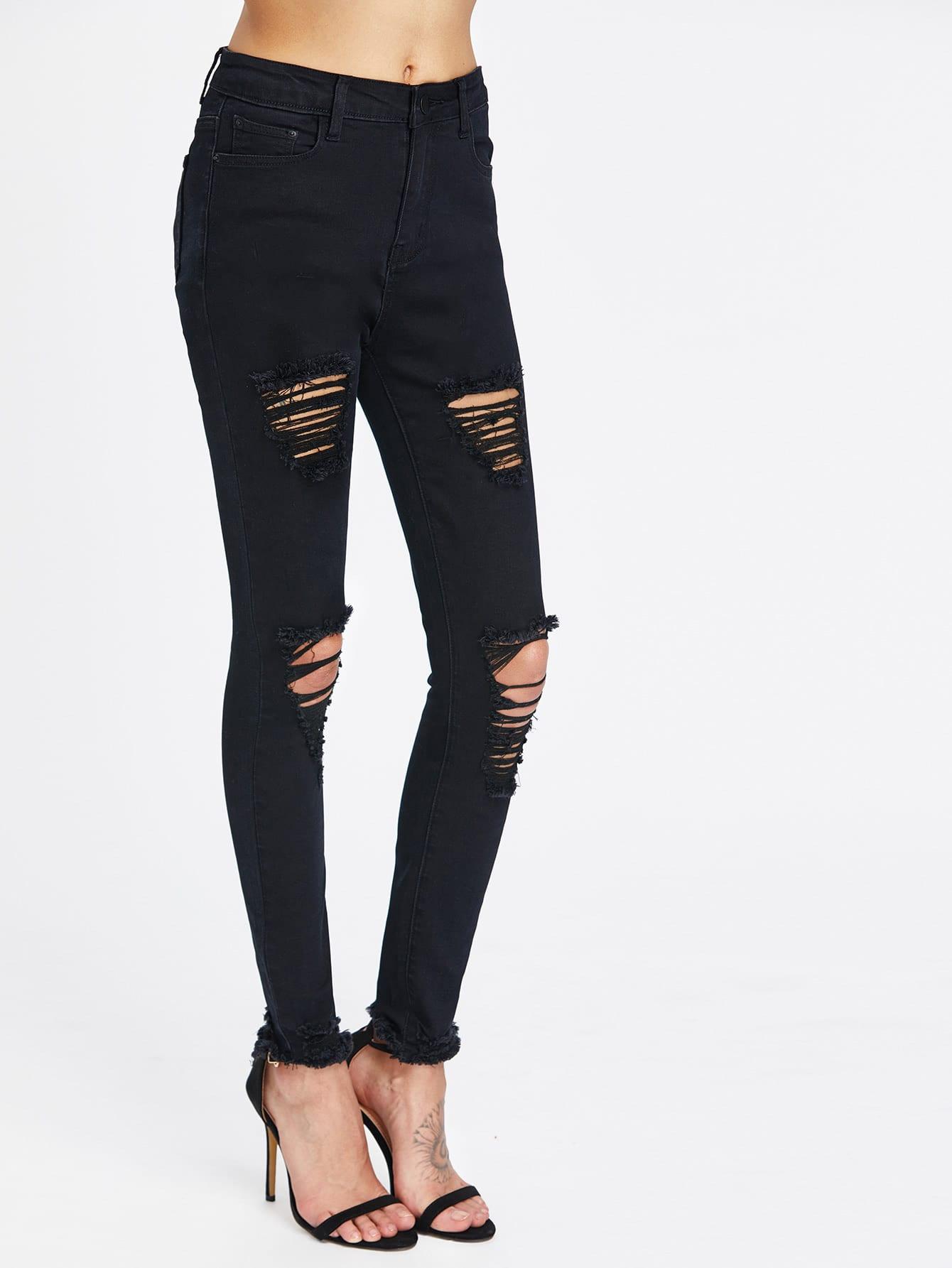 Фото Ripped Frayed Hem Skinny Jeans. Купить с доставкой