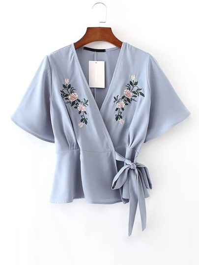 Flower Embroidered Wrap Top