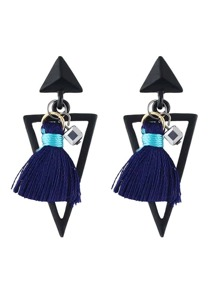 Blue Color Thread Tassel Geometric Big Stud Earrings