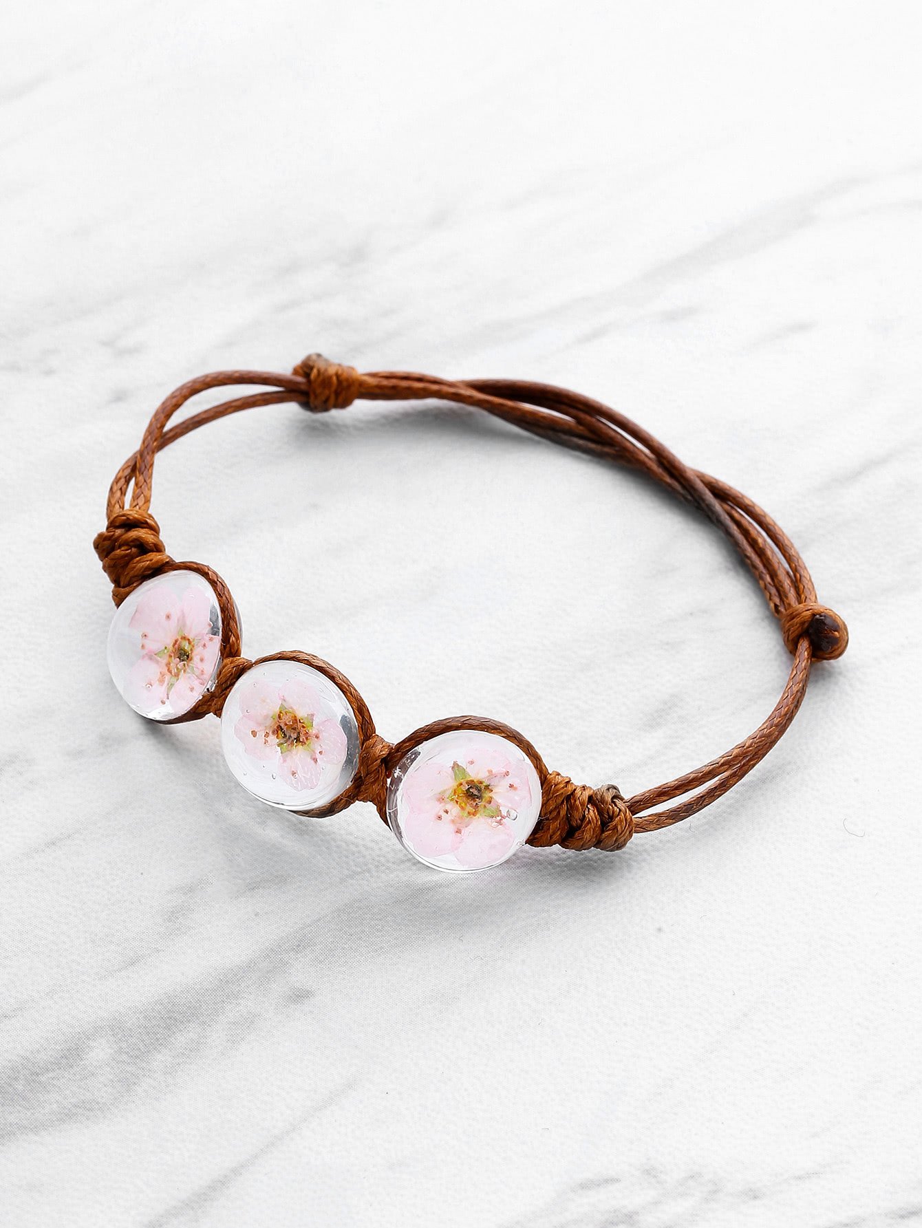 Glass Flower Design Knot Bracelet
