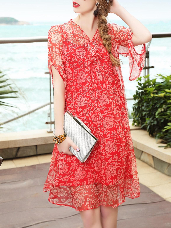 Фото V Neck Floral Sheer Dress. Купить с доставкой
