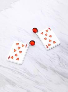 Poker Card Shaped Dangle Earrings