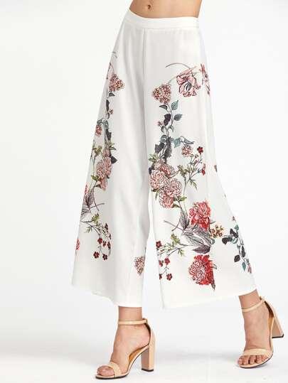 Botanical Print Zip Side Wide Leg Pants