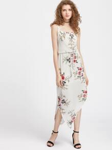 Floral Print Drawstring Asymmetrical Slit Side Dress