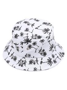 Sombrero de pescador con estampado de árbol de palma
