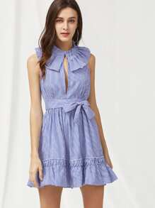 Pinstripe Frill Trim Open Back Self Tie Dress