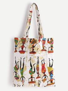Character Print Linen Shopping Bag