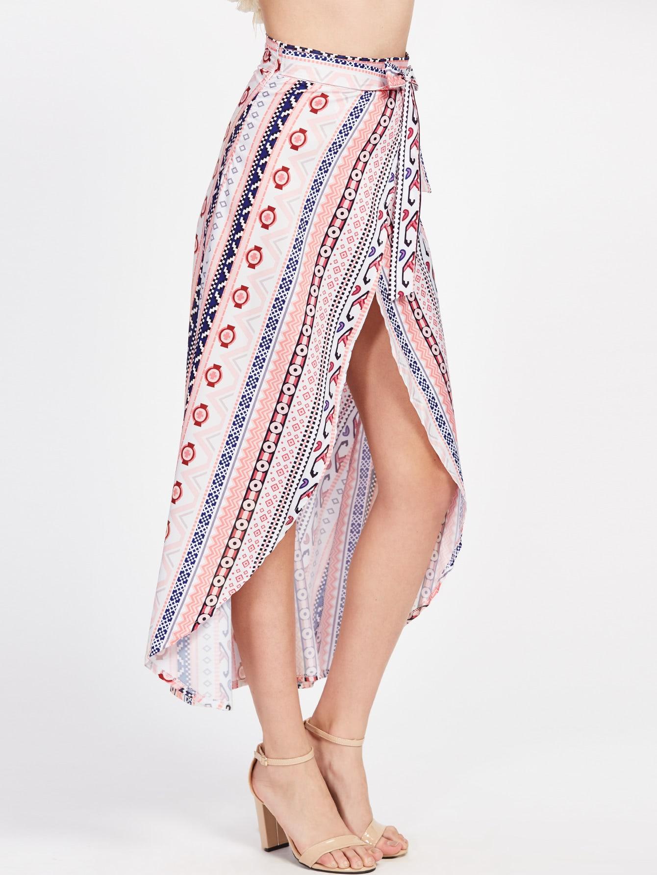 Tribal Print Wrap Tie Side Maxi Skirt -SheIn(Sheinside)