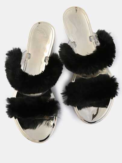 Double Fur Slip Ons BLACK