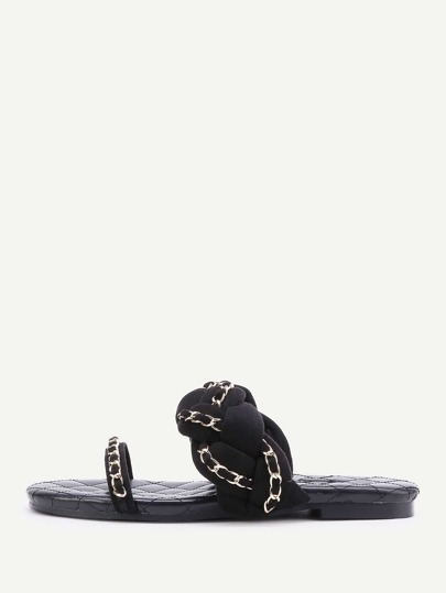 Chain Detail Braided Strap Slip On Sandals
