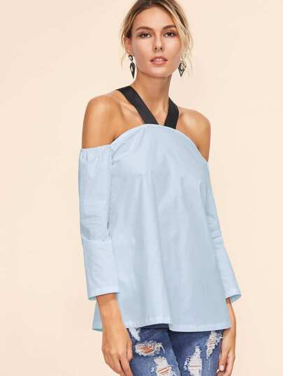 Contrast Strap Cold Shoulder Tunic Top pictures