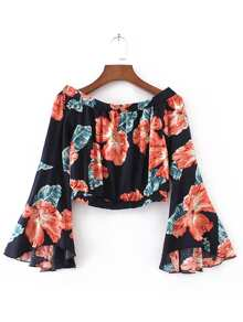Flower Print Fluted Sleeve Bardot Top