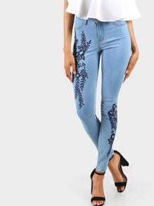 High Rise Embroidered Floral Skinnies LIGHT BLUE