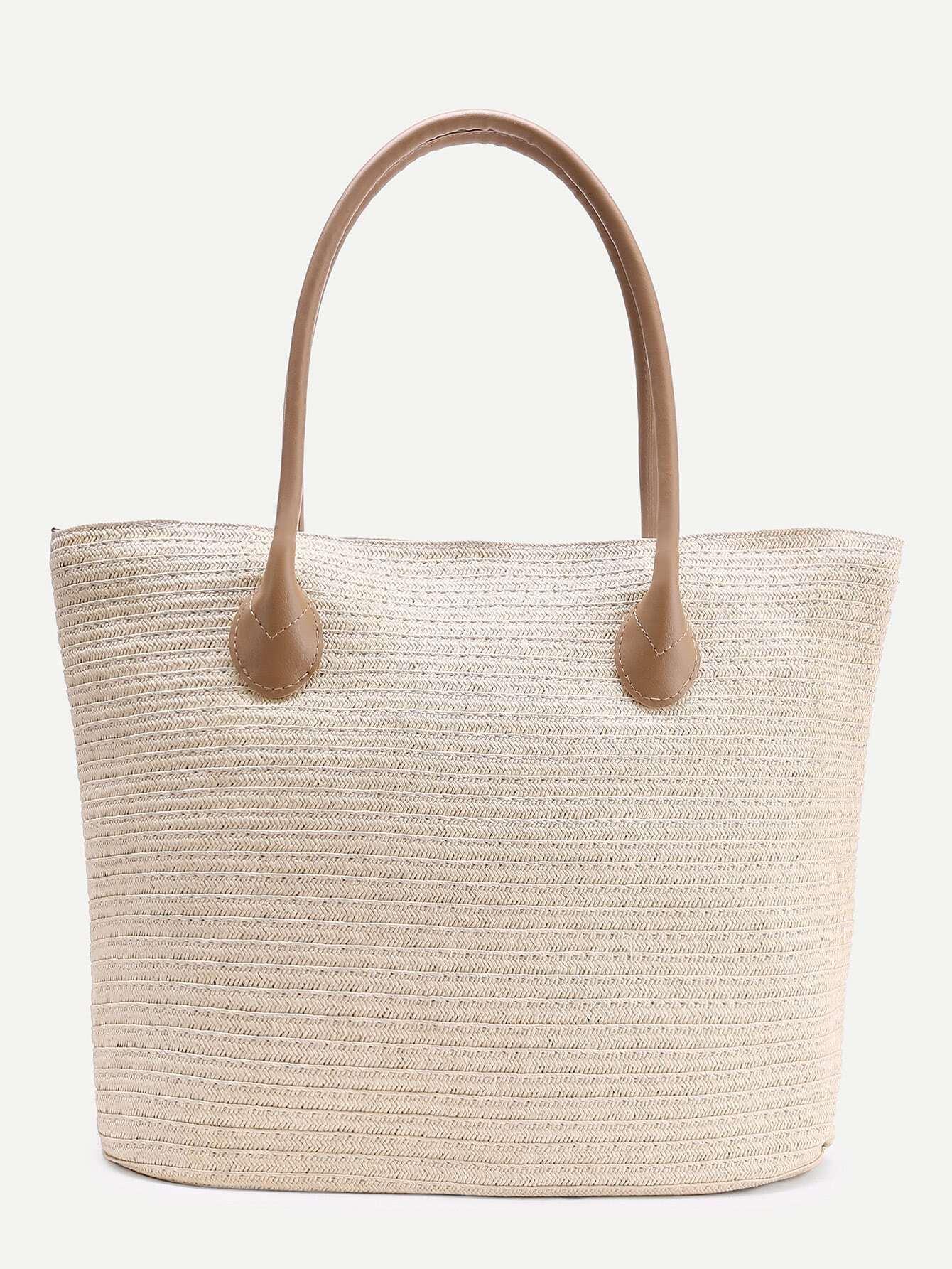 simple straw tote bag with zipper shein sheinside