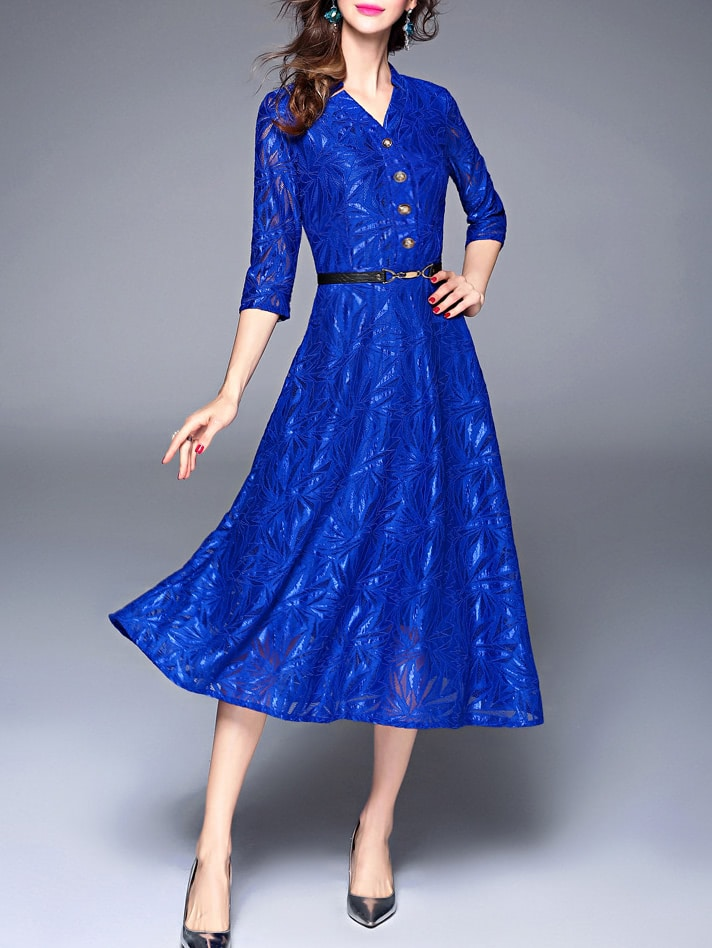 Фото V Neck Leaves Jacquard Dress. Купить с доставкой
