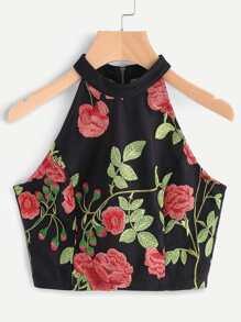 Rose Embroidered Sheer Back Halter Neck Top