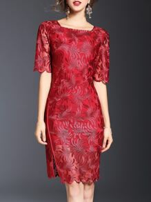 Red Boat Neck Gauze Embroidered Sheath Dress