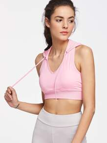 Active Fishnet Mesh Panel Crop Hooded Top