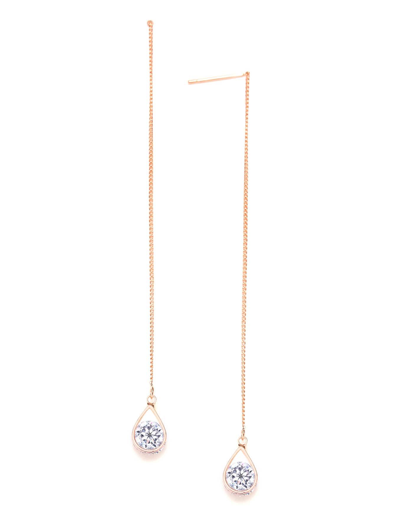 Фото Rhinestone Drop Chain Earrings. Купить с доставкой