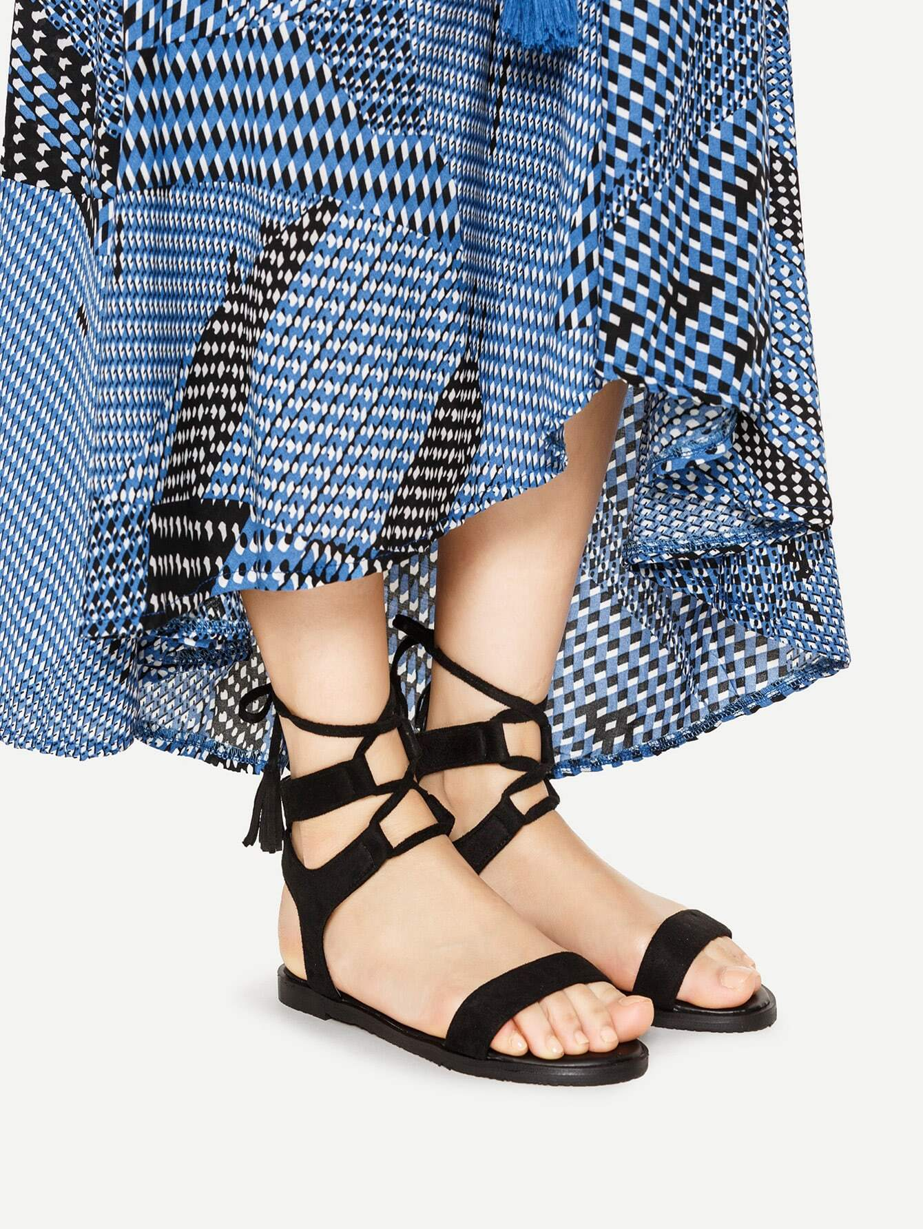 Фото Tassel Detail Lace Up Flat Sandals. Купить с доставкой