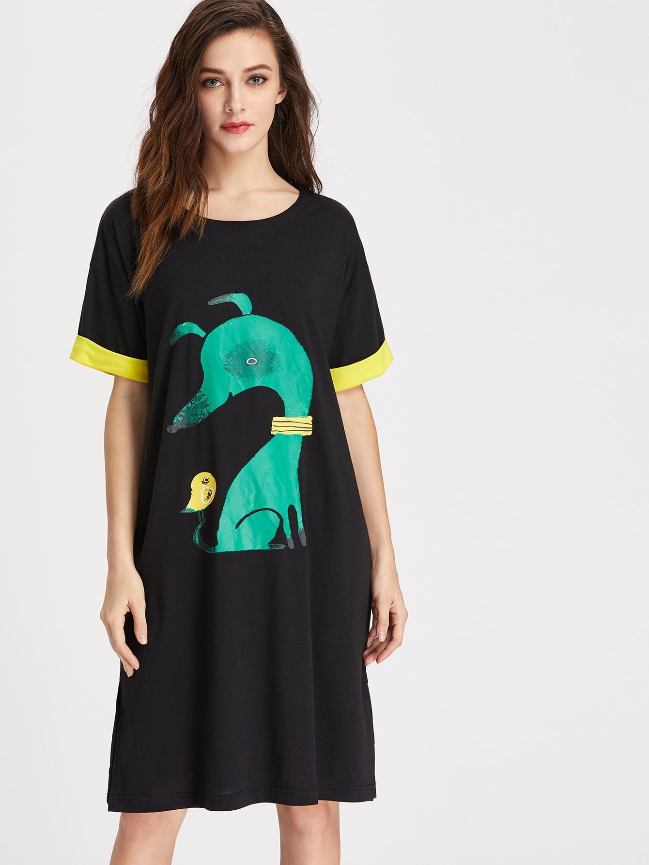 Фото Cartoon Print Contrast Cuff T-shirt Dress. Купить с доставкой