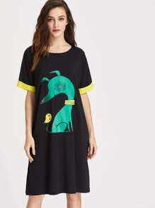 Cartoon Print Contrast Cuff T-shirt Dress