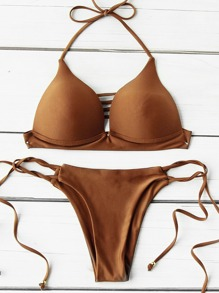 Ladder Cutout Side Tie Triangle Bikini Set