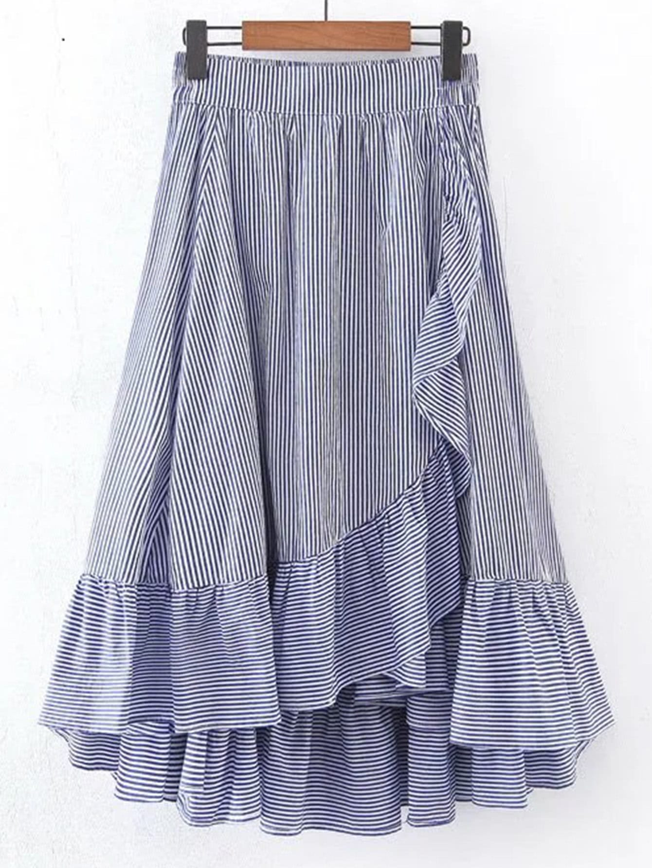 Фото Vertical Striped Elastic Waist Frill Hem Skirt. Купить с доставкой