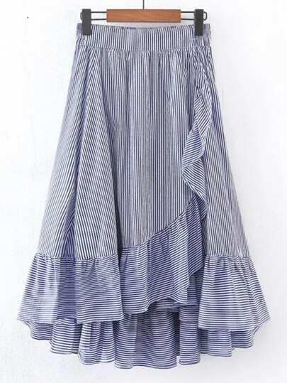 Vertical Striped Elastic Waist Frill Hem Skirt