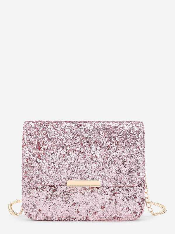 Metal Detail Sequin Flap Bag With Chain, null