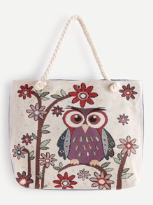 Owl And Flower Pattern Tote Bag