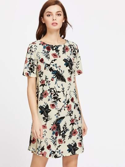 Vestido holgado de mangas cortas con estampado de flor