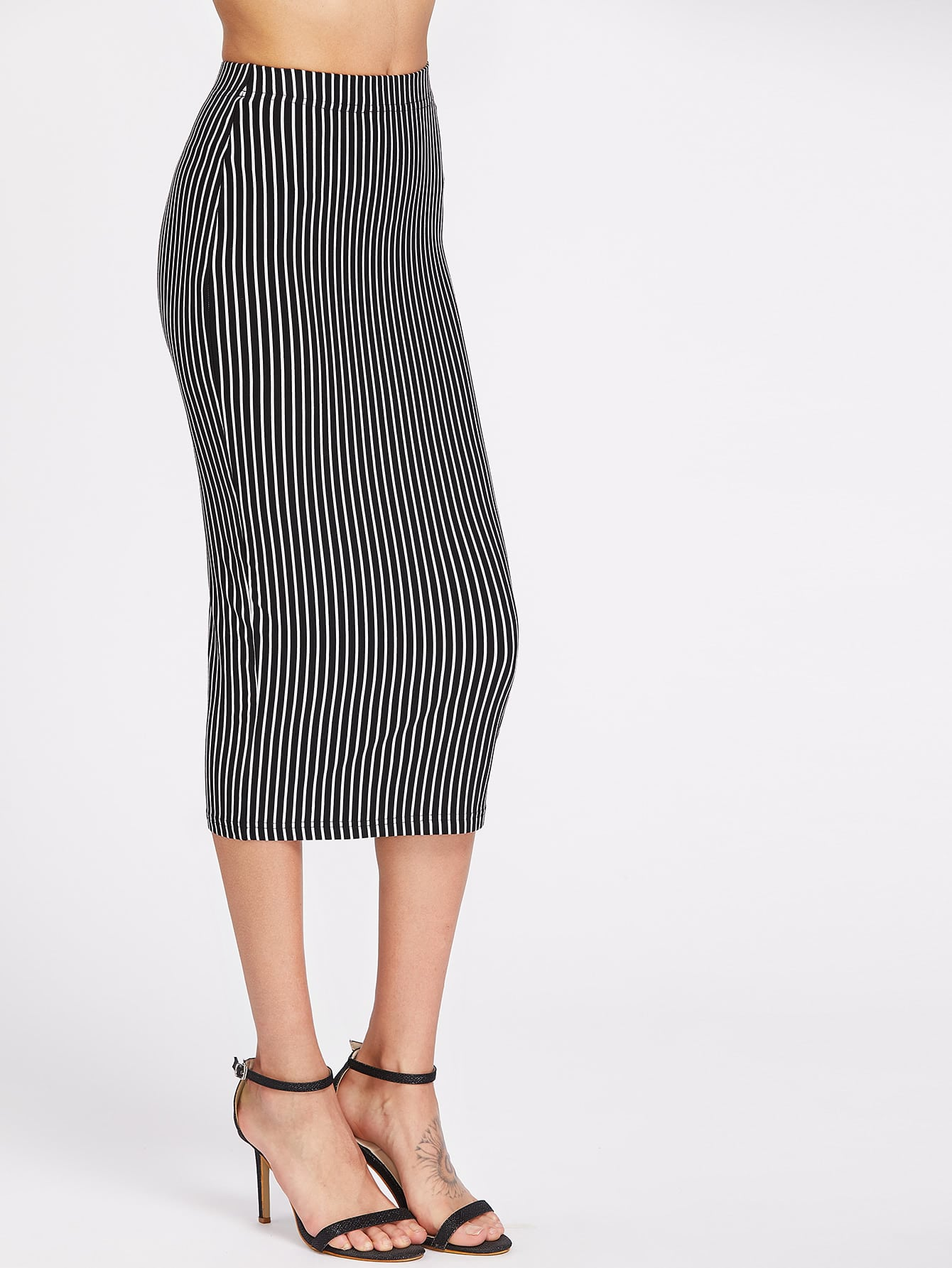 Фото Elastic Waist Pinstriped Pencil Skirt. Купить с доставкой