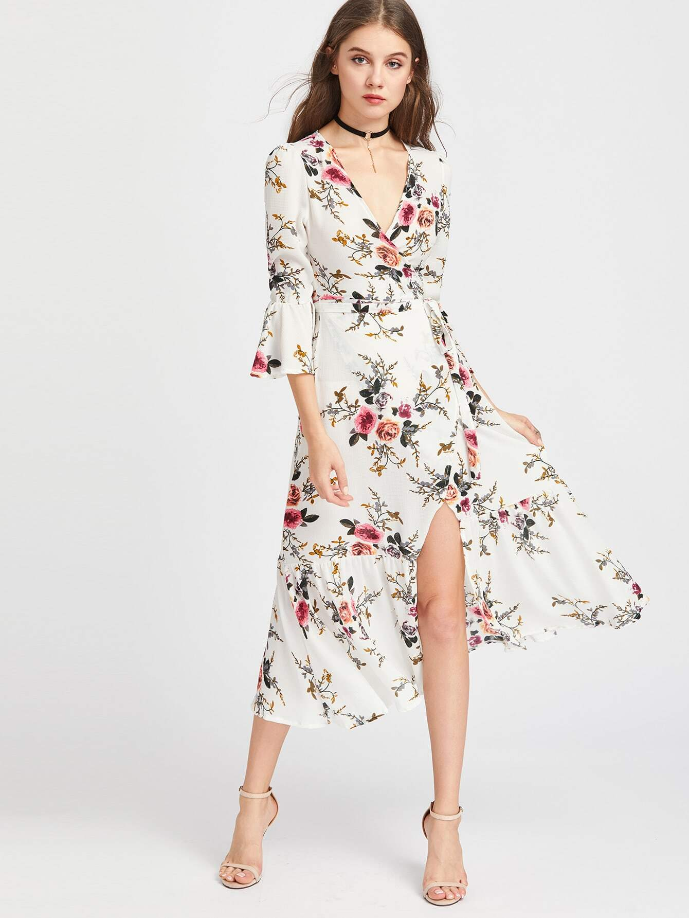 shein plunge neck floral print bell sleeve slit side dress shoppr. Black Bedroom Furniture Sets. Home Design Ideas