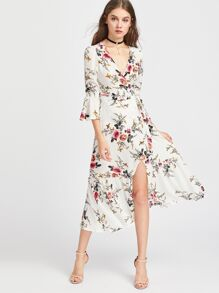 Plunge Neck Floral Print Bell Sleeve Slit Side Dress
