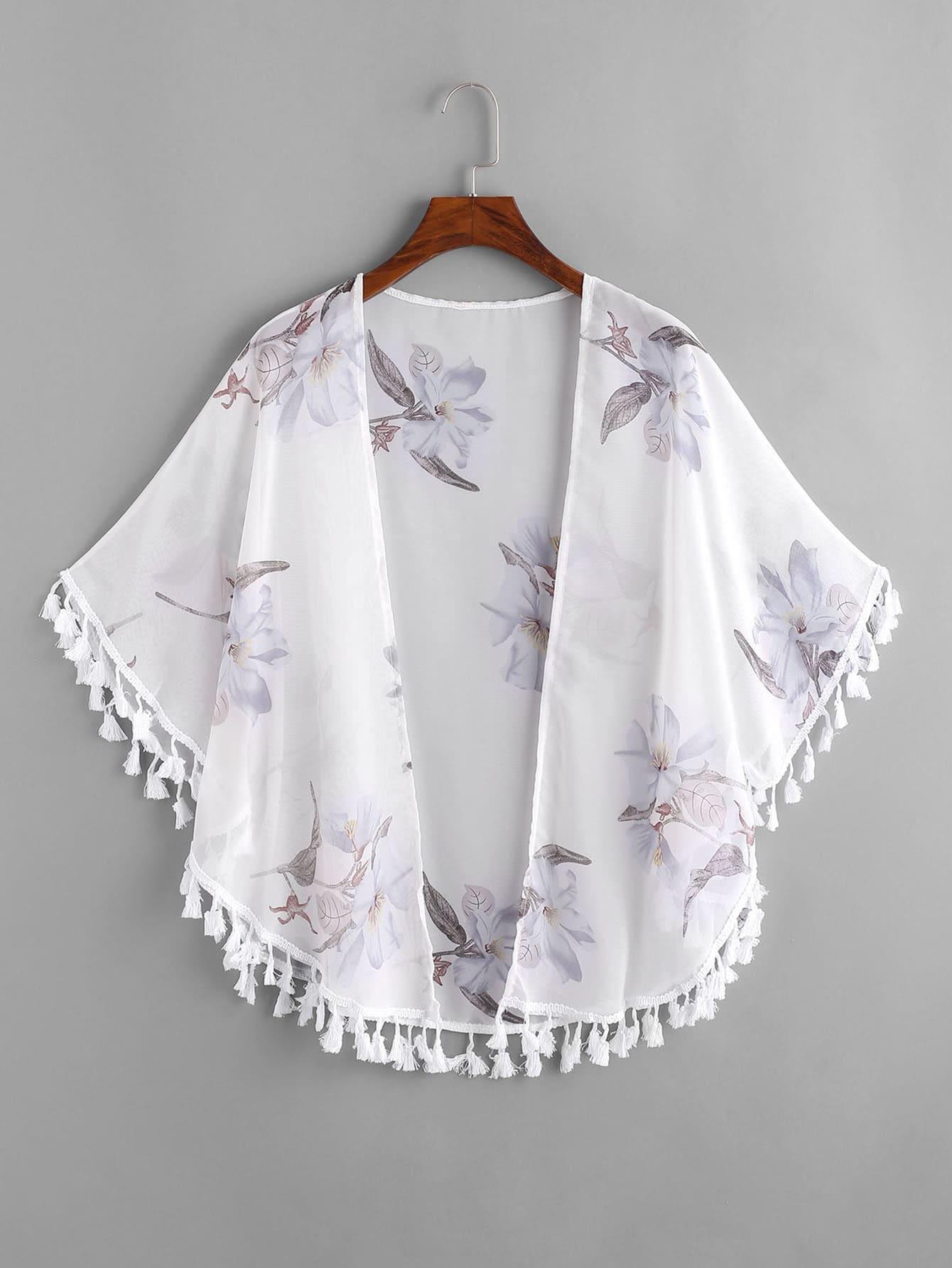 Floral Print Fringe Trim Kimono paisley print fringe trim kimono