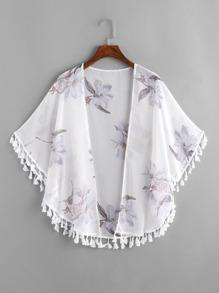 Kimono découpé imprimé fleuri avec des franges