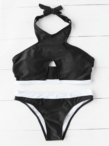 Cutout Front Contrast Trim Halter Bikini Set