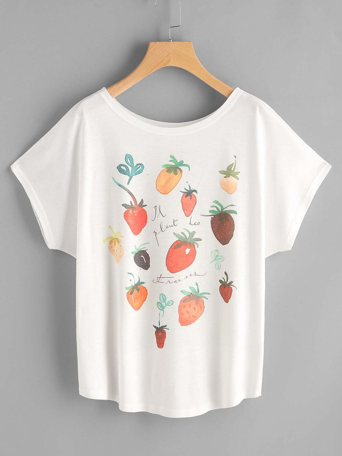 Фото Fruits Print Dolman Sleeve Tee. Купить с доставкой
