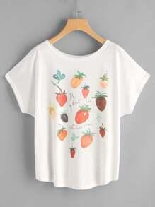 Fruits Print Dolman Sleeve Tee