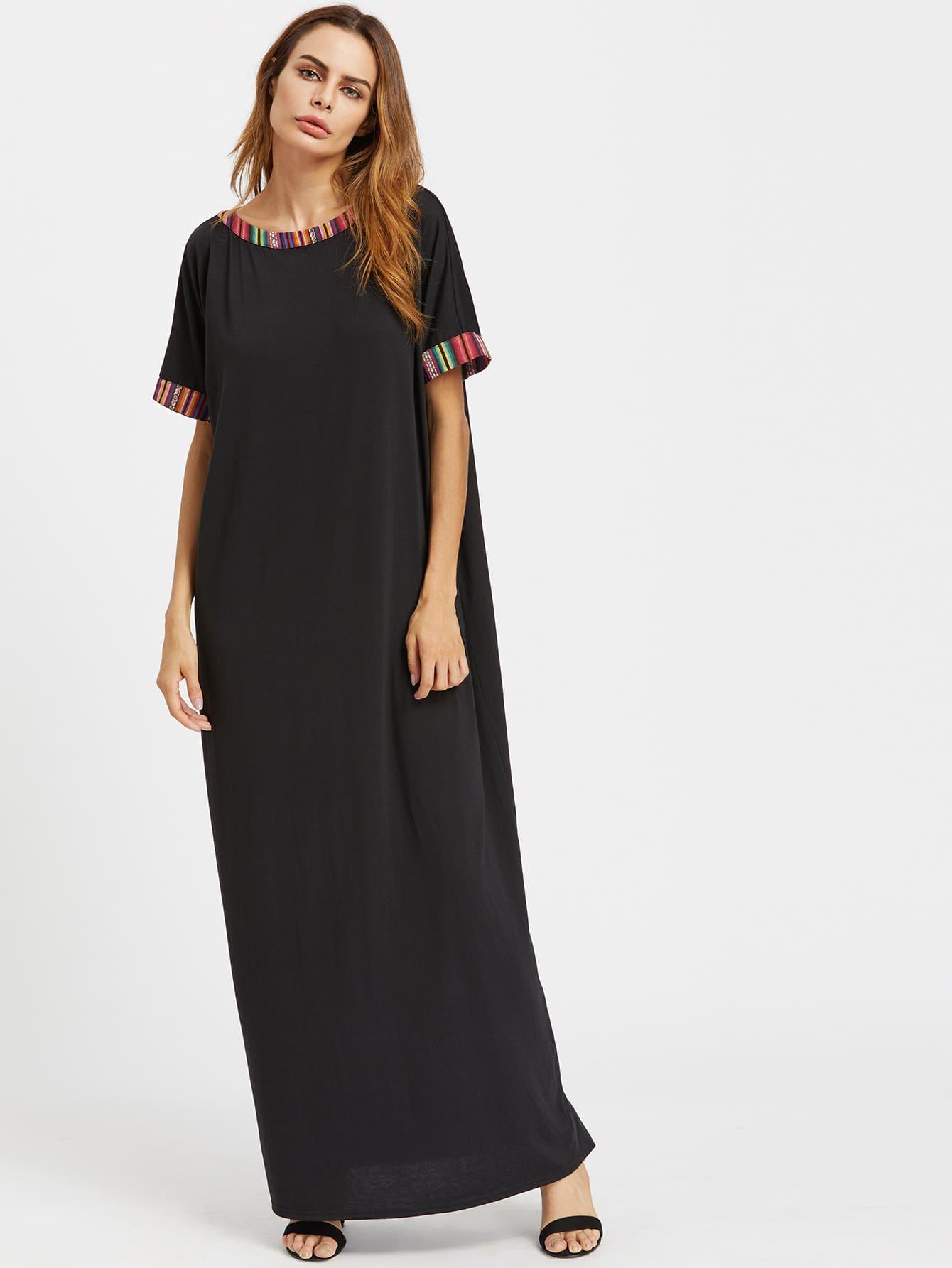 Фото Striped Trim Cocoon Maxi Dress. Купить с доставкой
