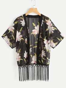 Kimono de gasa fruncido de frente abierta